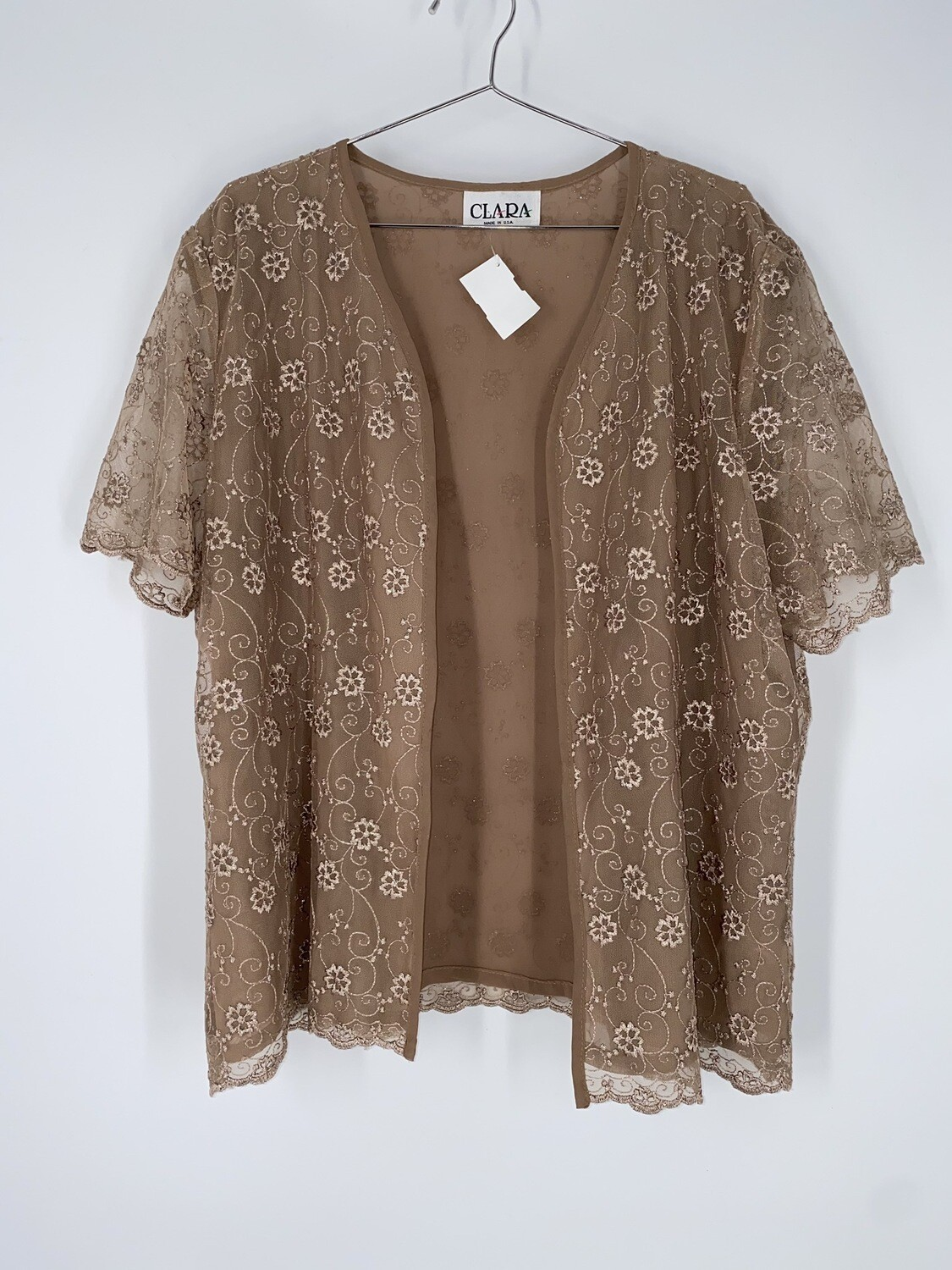 Clara Gold Floral Lace Short Sleeve Top Size L