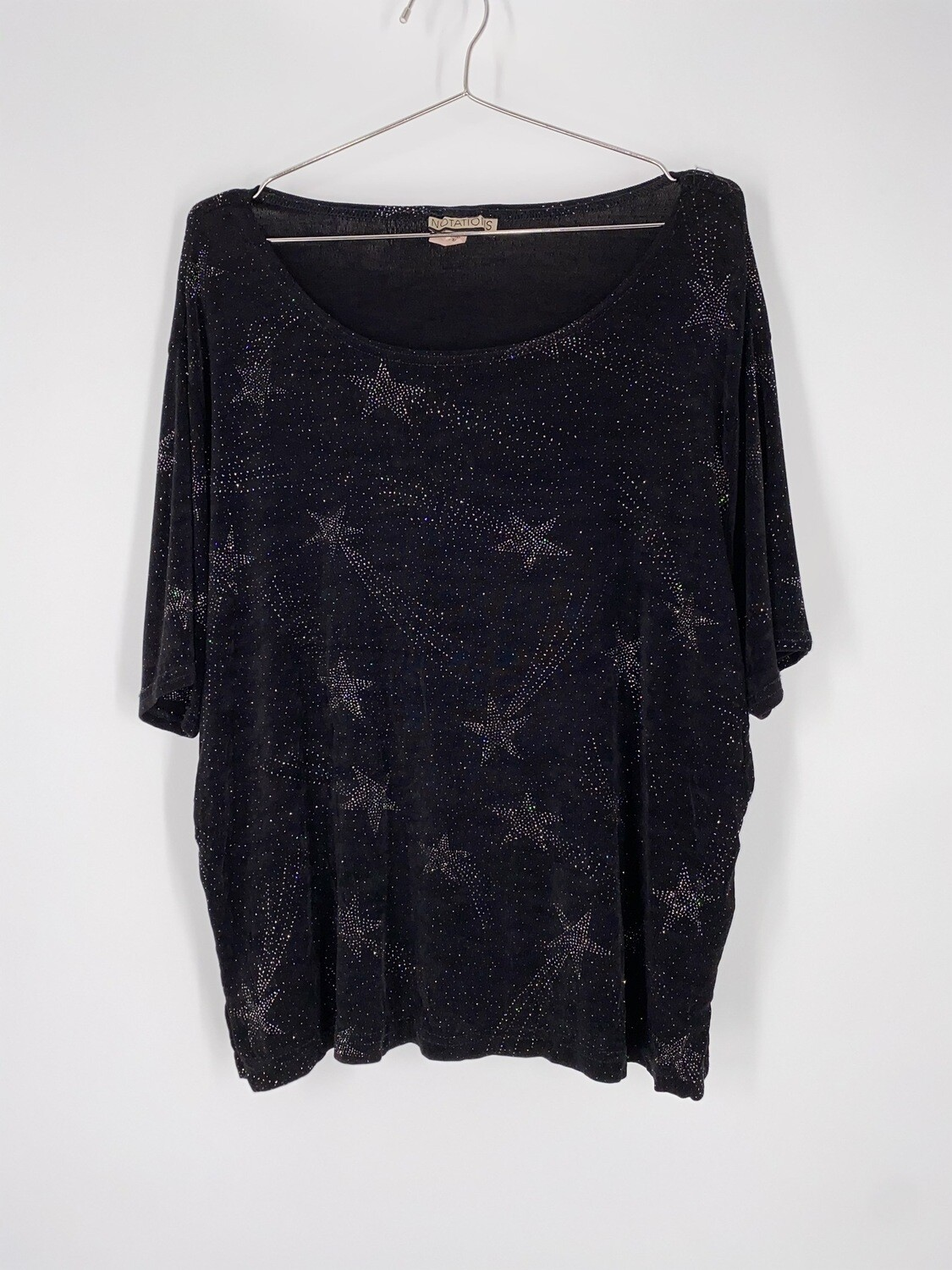 Notations Shooting Star Short Sleeve Top Size L