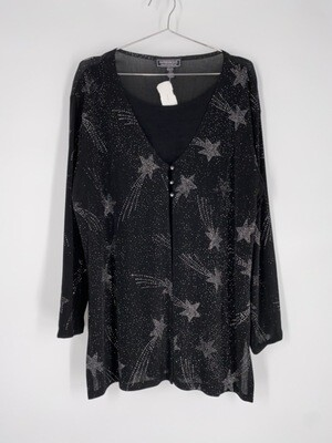 Impressions Shooting Star Black And Rainbow Glitter Top Size L
