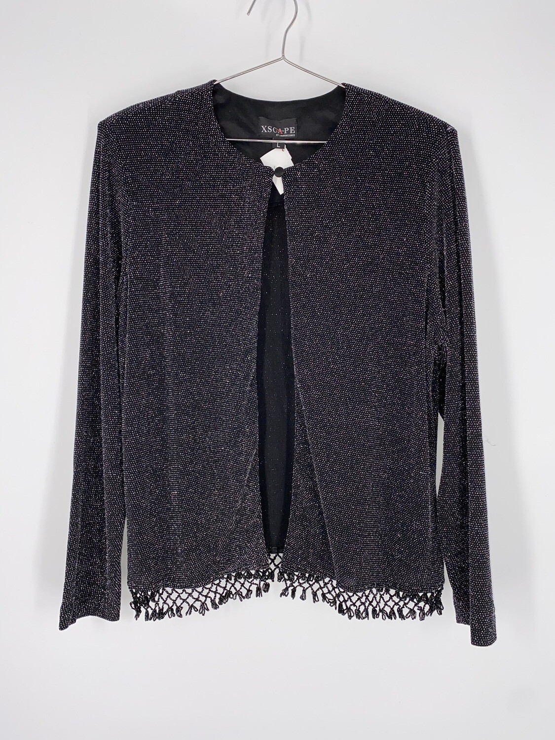 XScape Black And Silver Metallic Beaded Fringe Top Size L