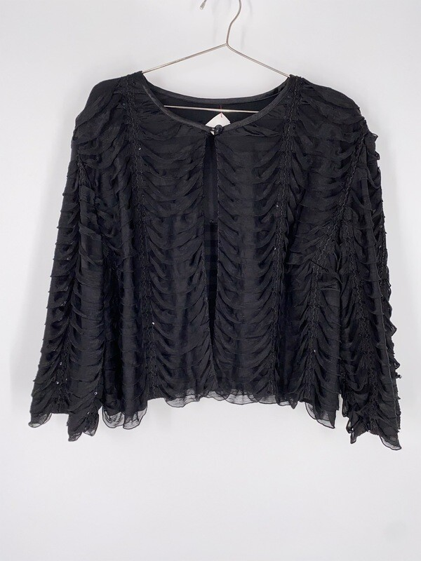 Black Ruffle Textured 3/4 Sleeve Top Size M