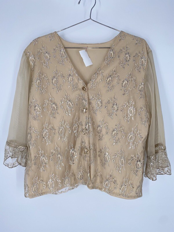 Gold And Cream Lace 3/4 Sleeve Top Size L