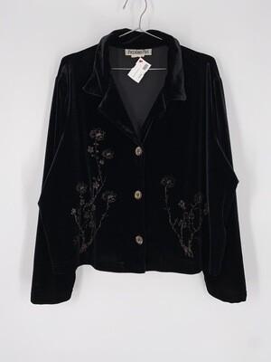 Piccalino Plus Black Velvet Floral Design Button Up Top Size M