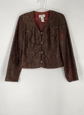 Karen Miller Brown Lace Button Up Top Size M
