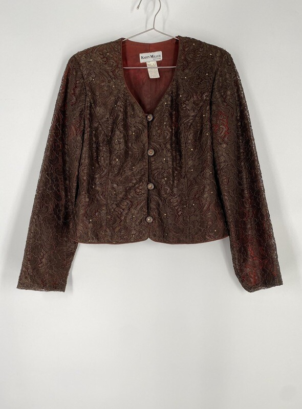 Karen Miller Brown Lace Button Up Top Size M