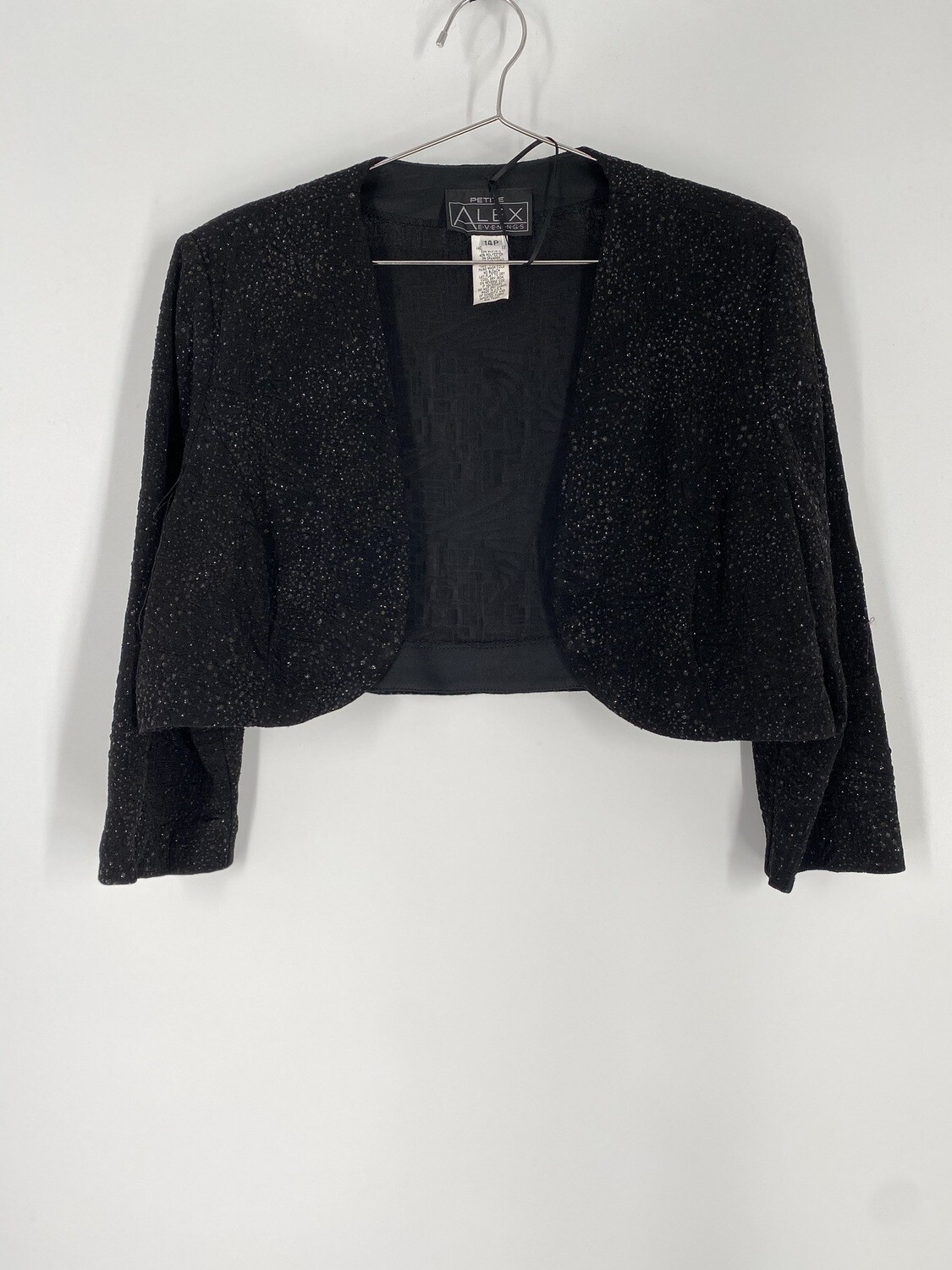 Alex Evenings Black Glitter Cropped Top Size M