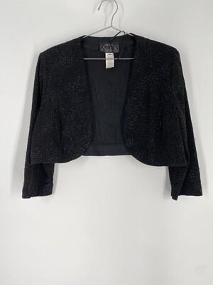 Alex Evenings Black Glitter Cropped Top Size M