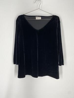 Kathie Lee Velvet 3/4 Sleeve Top Size L