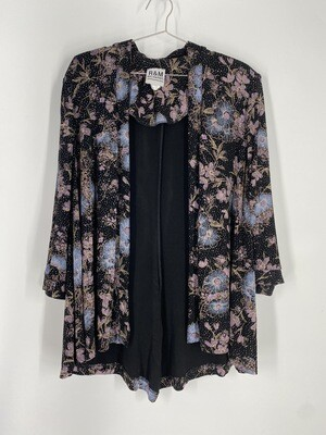R&M Richards Blue And Purple Floral Long Sleeve Top Size L