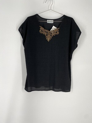 Joanna Black And Gold Appliqué short Sleeve Top Size L