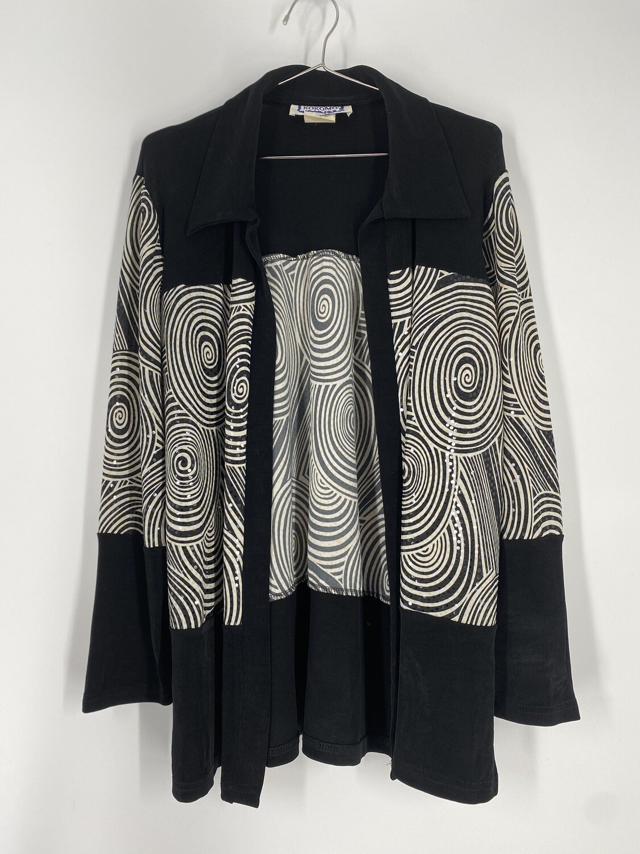 Kokomo Black And White Swirly Sequins Top Size M