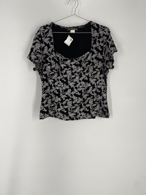 Ronni Nicole Evenings Silver Glitter Floral Patterned Top Size L