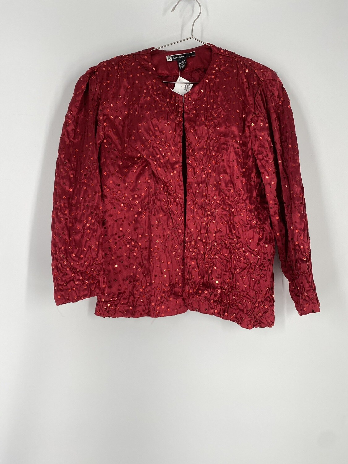 JS Boutique Red Sequin 3/4 Sleeve Top Size S