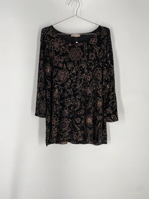 Notations Black And Gold Glitter Floral Print Top Size L