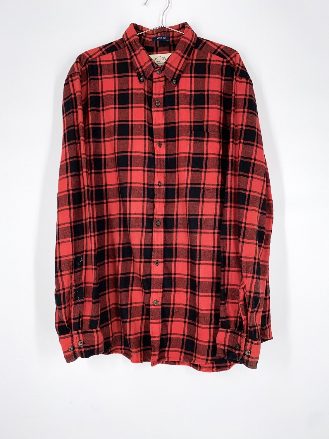Red Plaid Button Up Size L