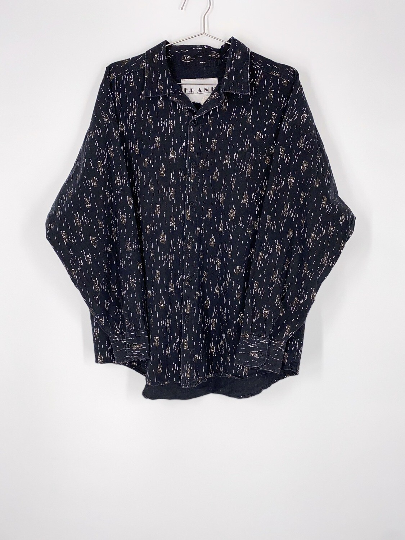 Patterned Black Button Up Size L