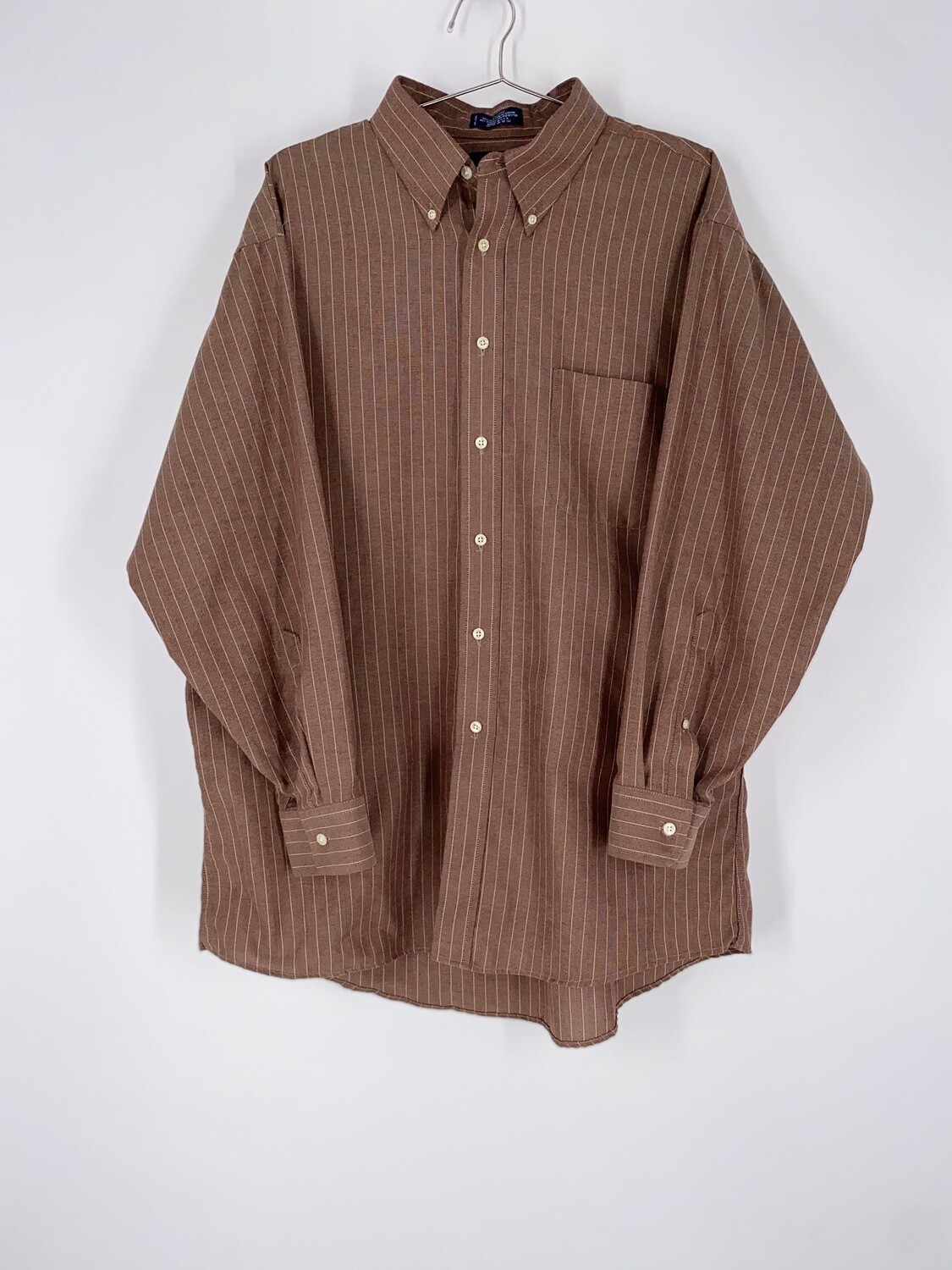Brown Pinstripe Button Up Size XL