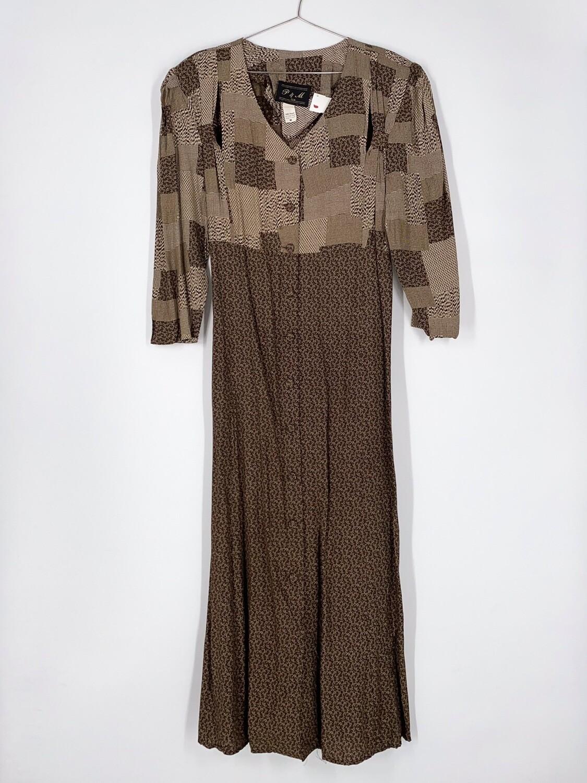 Brown Button Front Cutout Dress Size M