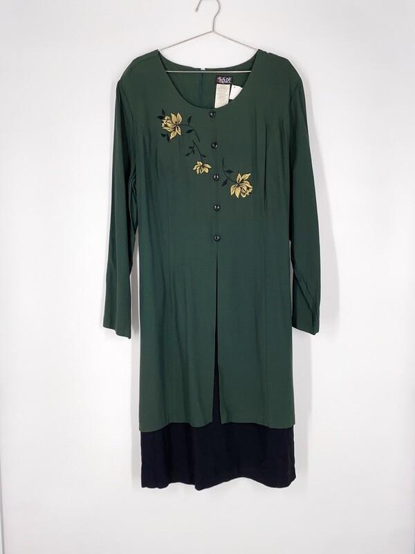 Floral Embroidered Tie Back Dress Size L