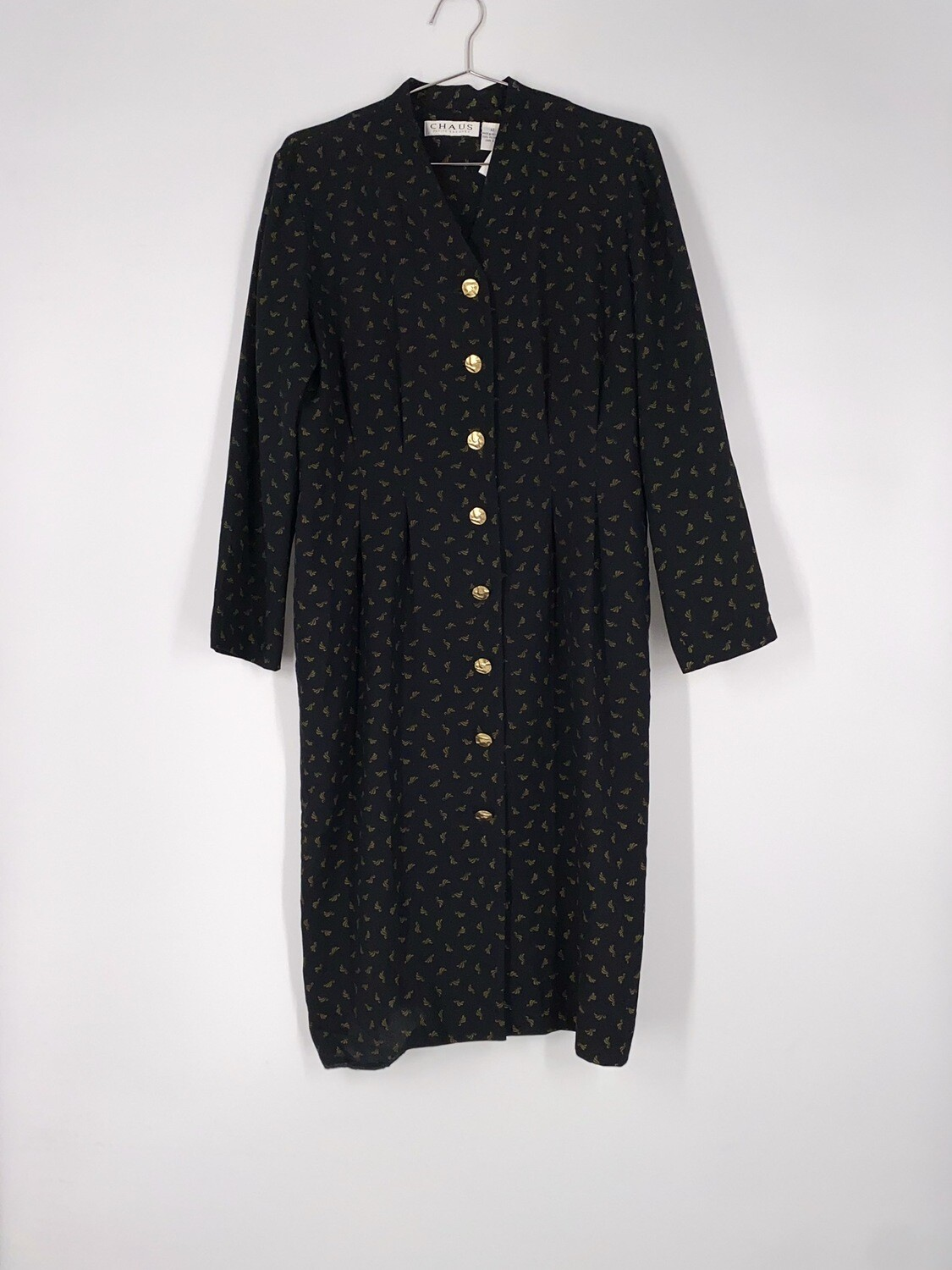 Printed Button Front Dress Size L