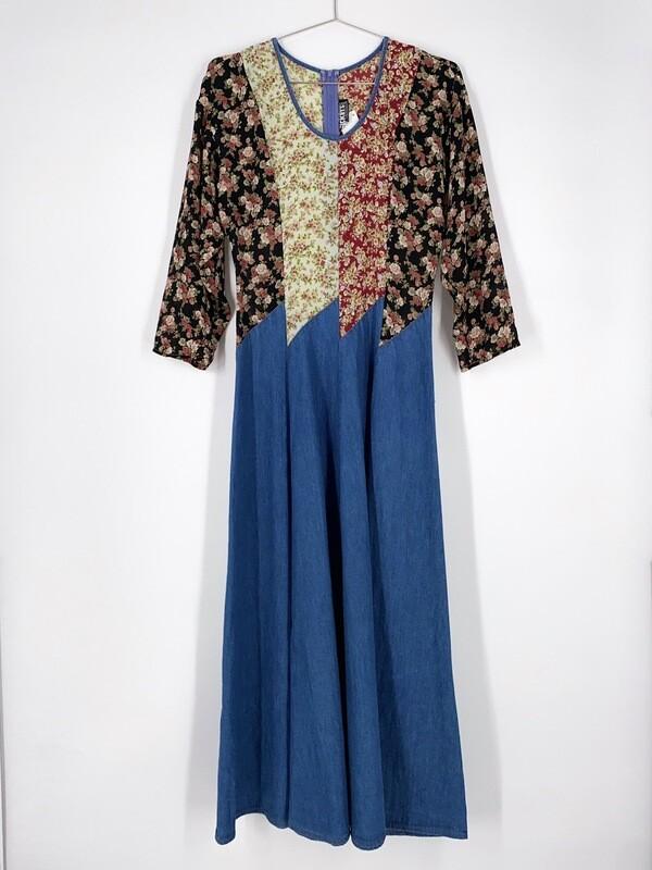 Floral Top Denim Dress Size S