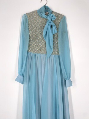 Blue Sheer Tie Neck Dress Size S