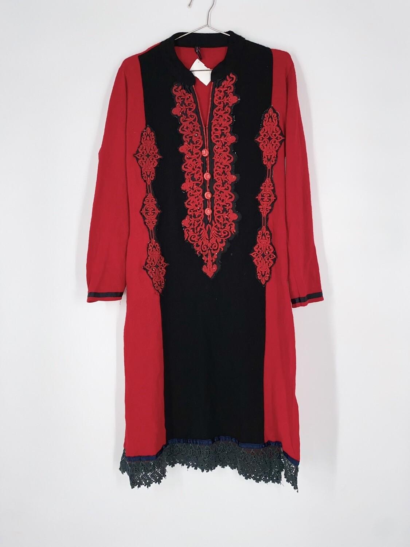 Split Hem Embroidered Dress Size S