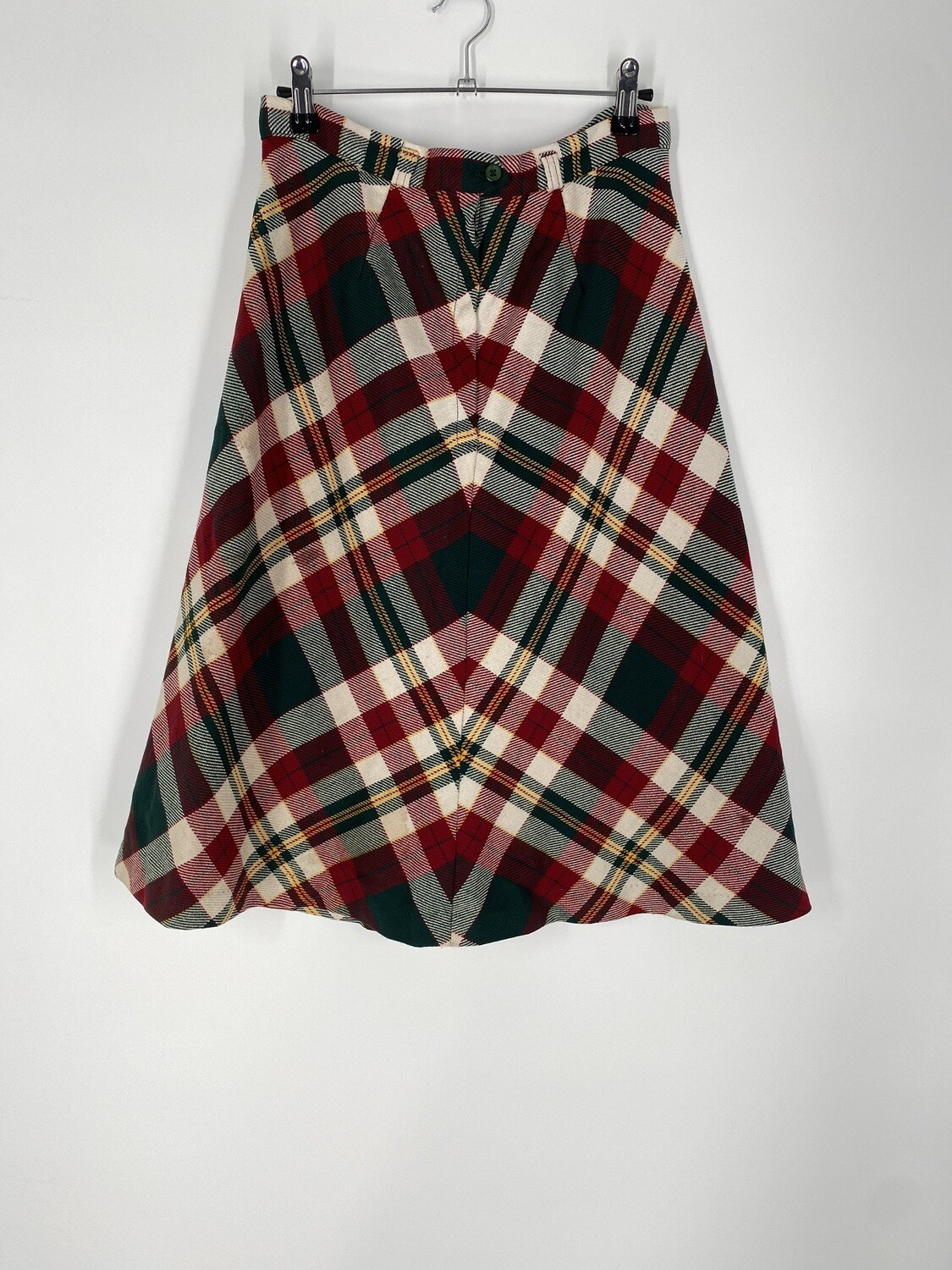 Green & Red Plaid Wool Skirt Size L