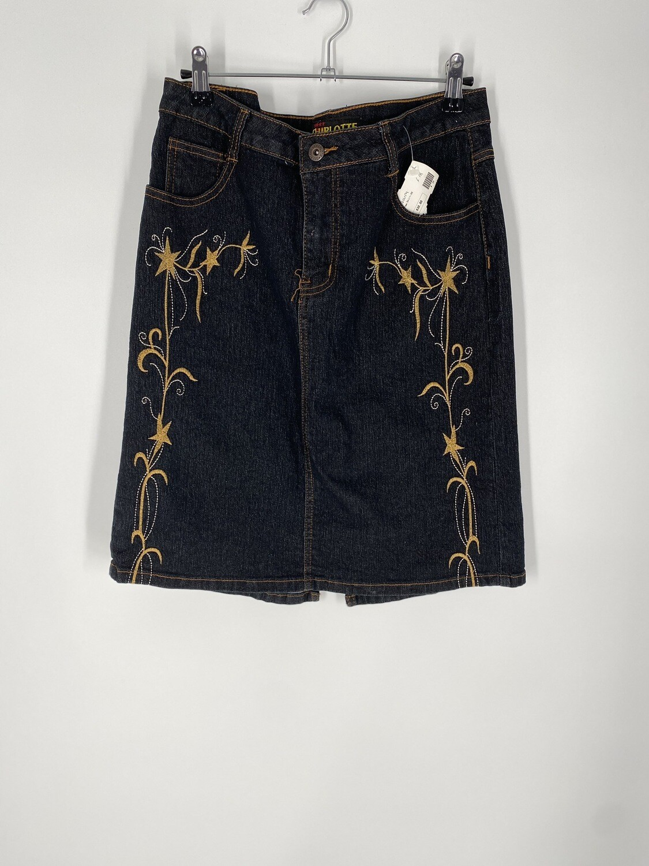 Charlotte Embroidered Denim Skirt Size M