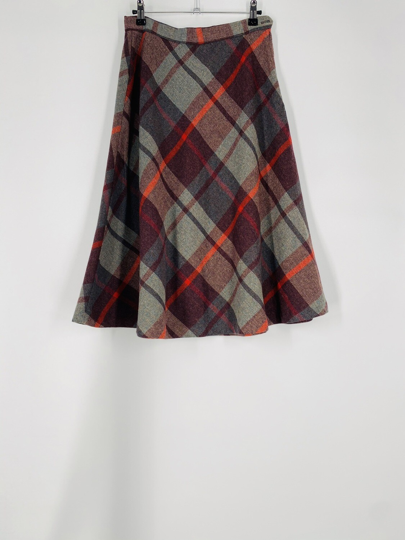 Wool Plaid Skirt Size M
