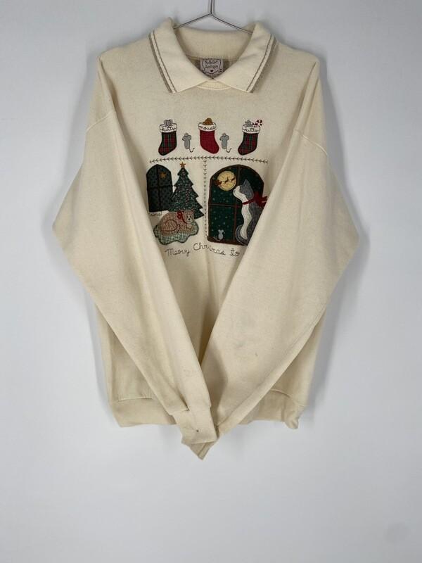 Cream Holiday Sweatshirt Size L