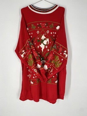 Red Holiday Sweatshirt Dress Size L