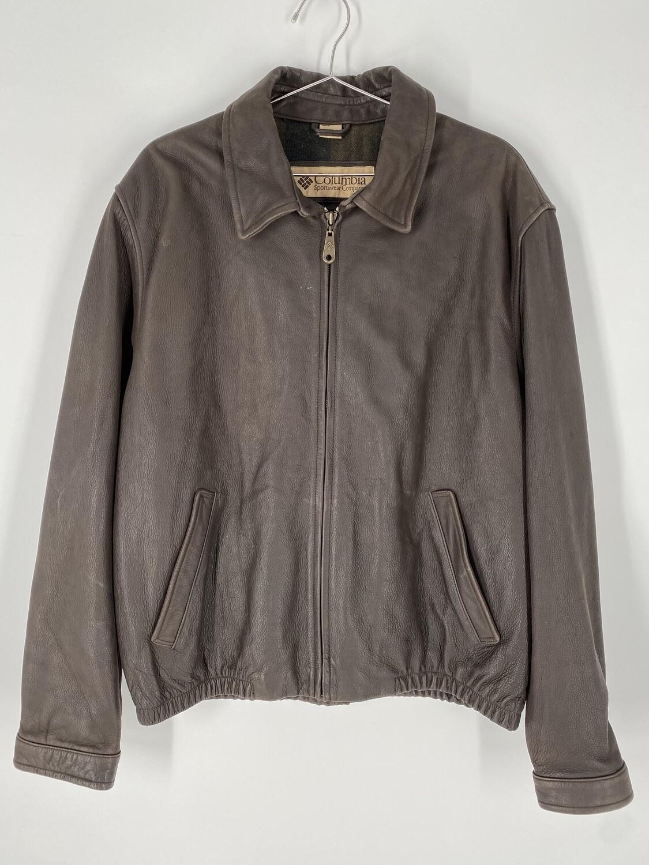 Columbia Sportswear Company Dark Brown Leather Jacket Size L