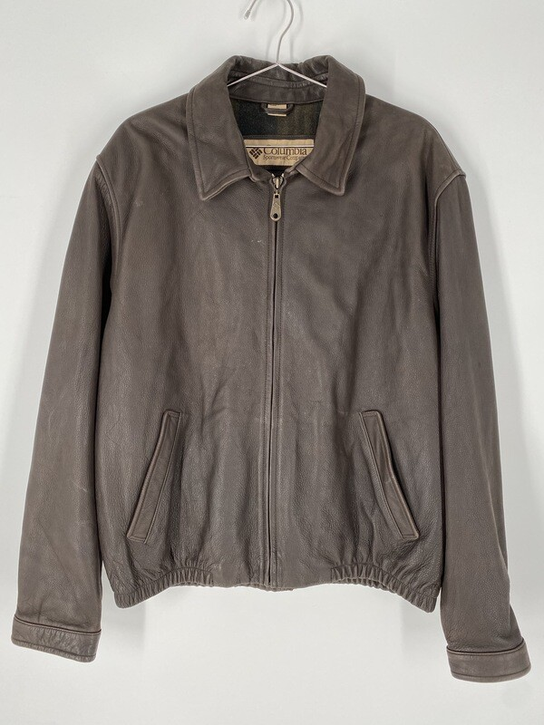 Columbia Sportswear Company Dark Brown Leather Jacket Size L