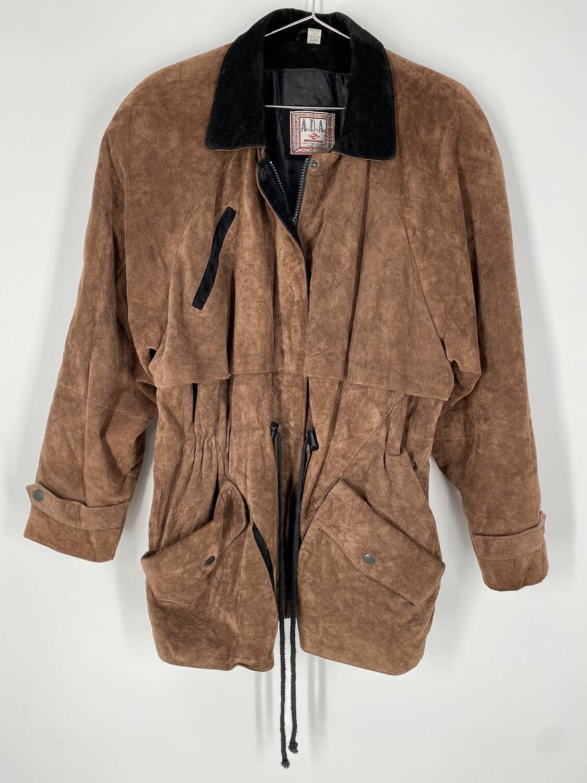 ADA Brown Suede Cinch-Waist Jacket Size S