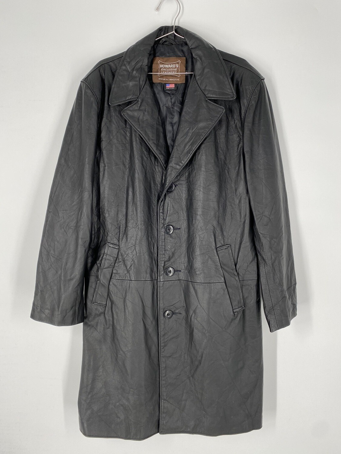 Howard's Exclusive Leathers Black Trench Coat Size M