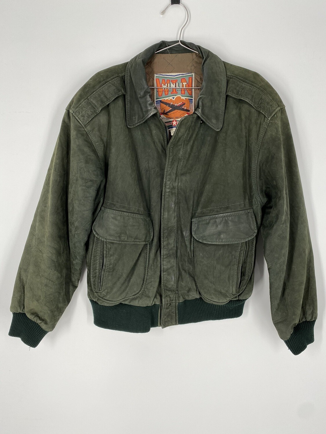 Winlit Dark Green Leather Bomber Jacket Size S