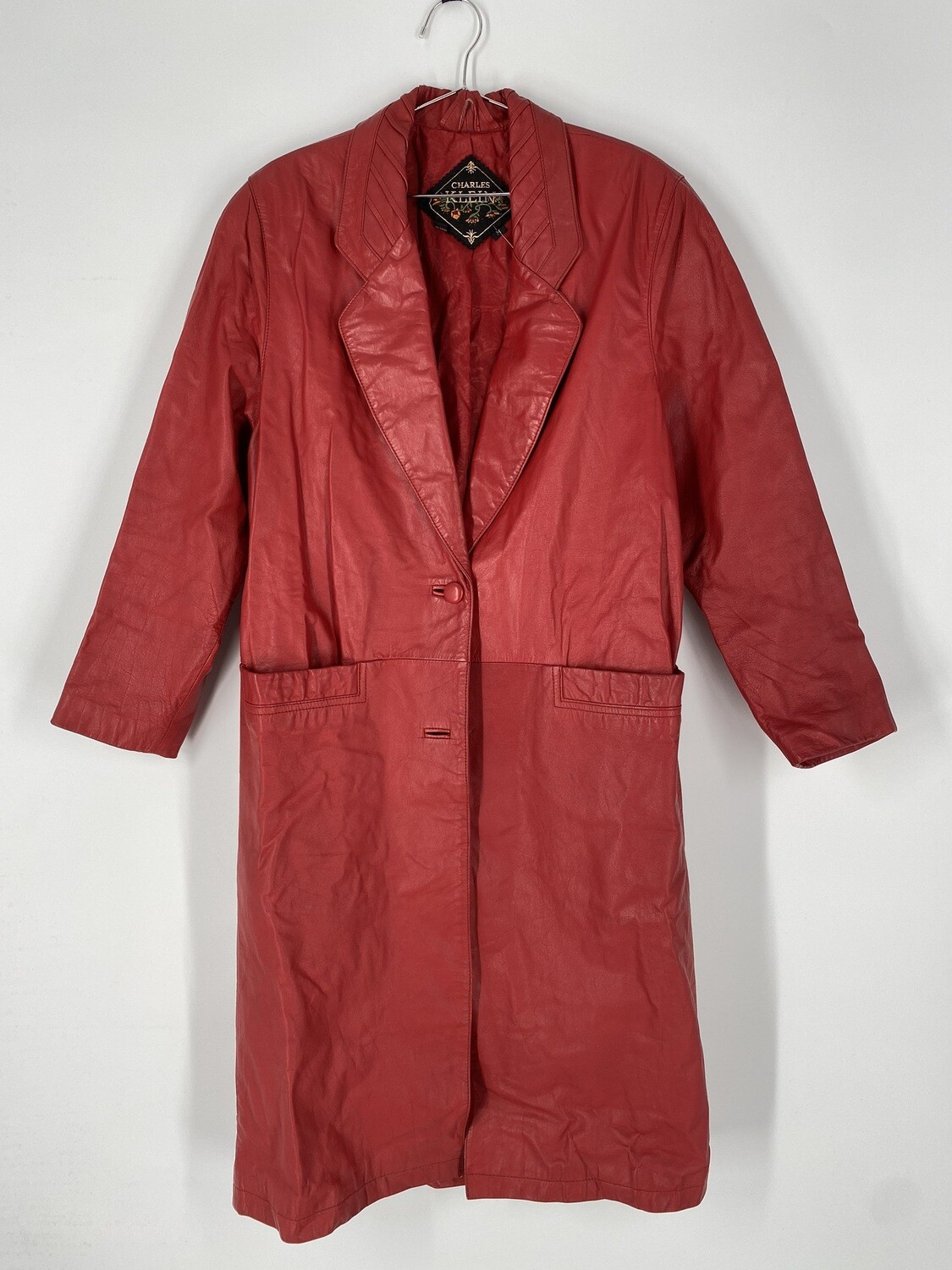 Charles Klein Red Leather Trench Coat Size M
