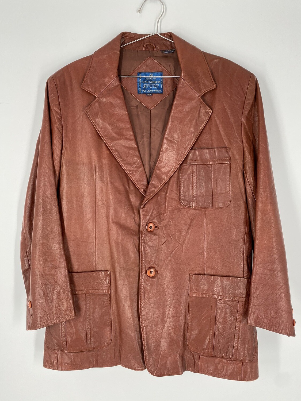 Nino Cerruti Sport Brown Leather Jacket Size L