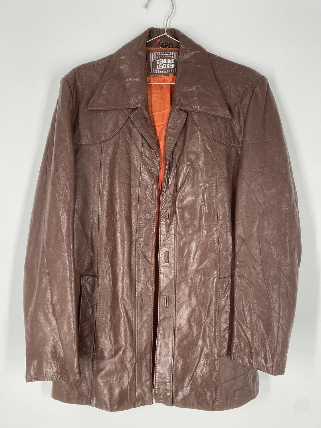 Genuine Leather Brown Leather Jacket With Quilted Shoulders Size M
