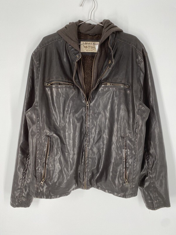 Levi's Faux Brown Leather Bomber Jacket Size M