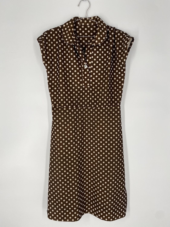 Brown Polka Dot Sleeveless Dress Size M