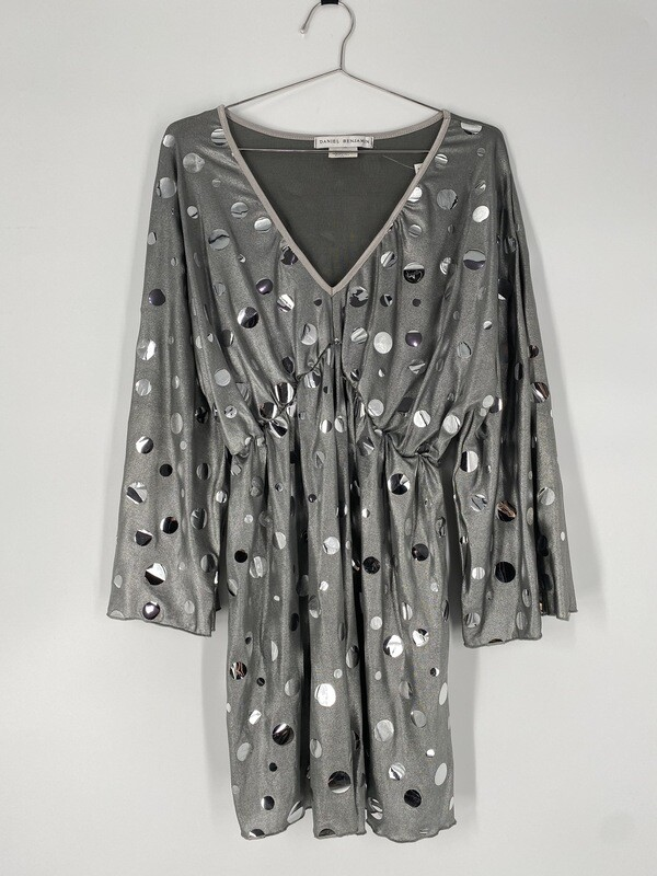 Daniel Benjamin Silver 70's Dress Size M