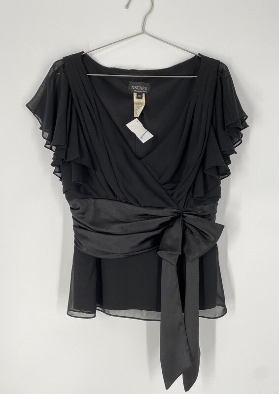 Xscape By Joanna Chen Blouse With Front-Tie Size M