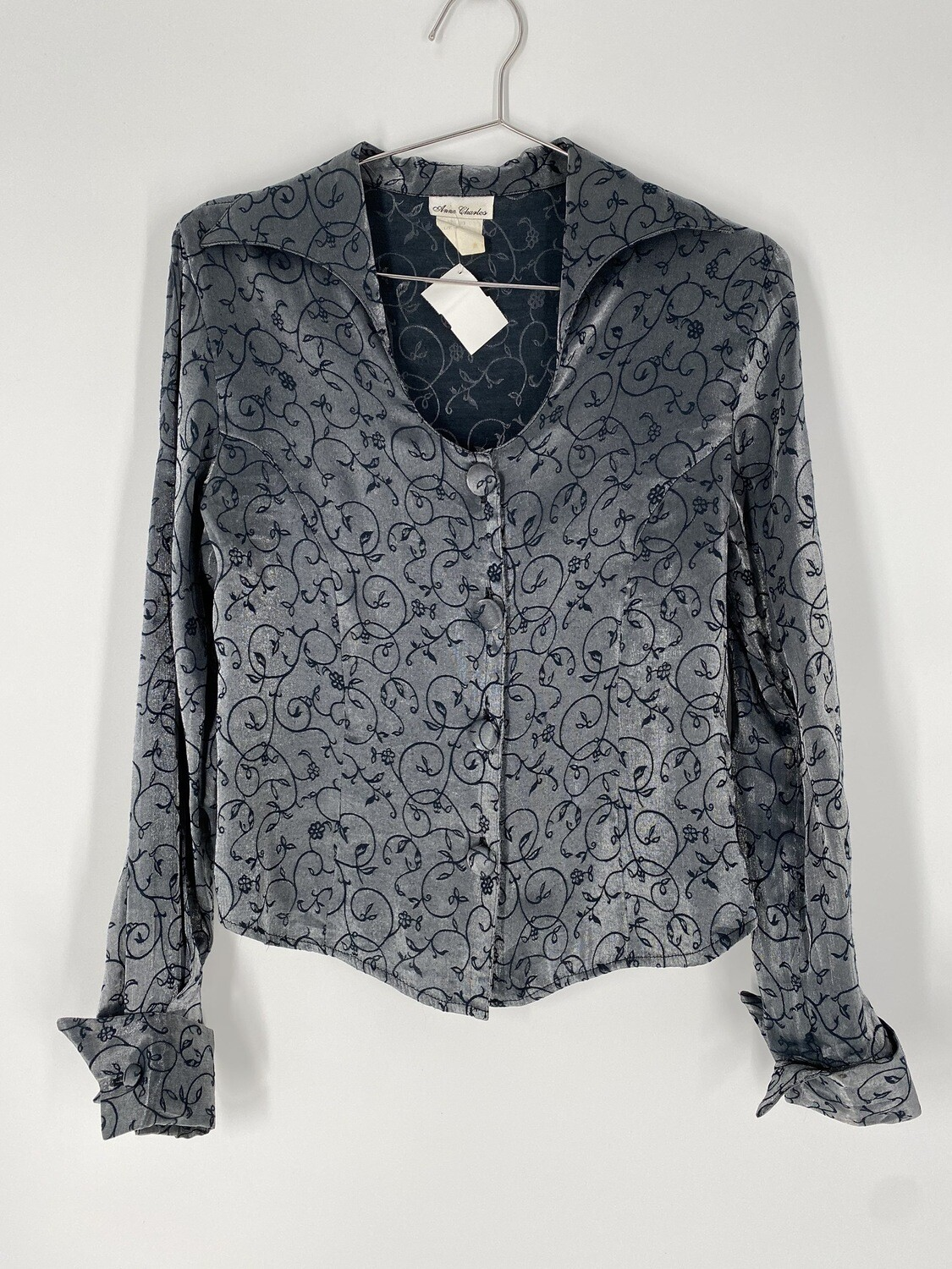 Anne Charles Button-Up Long-Sleeve Blouse Size M