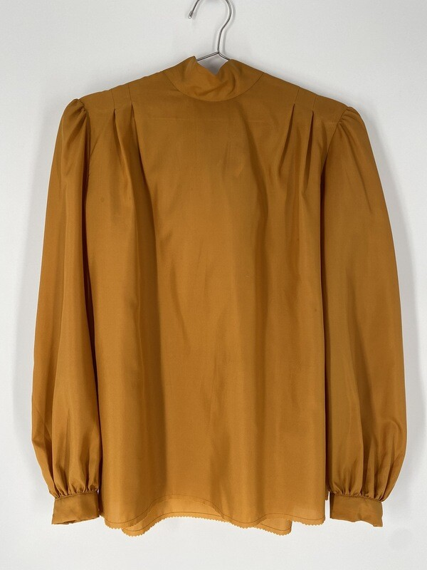 Mustard Yellow Blouse With Tie Size L