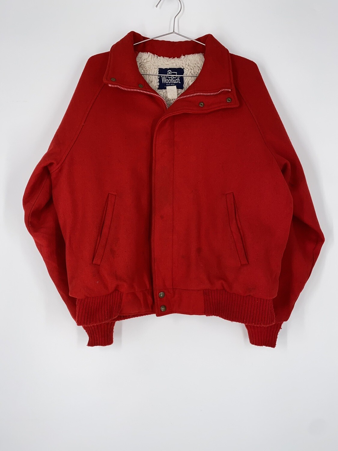 Woolrich Sherpa Lined Red Wool Bomber Size L