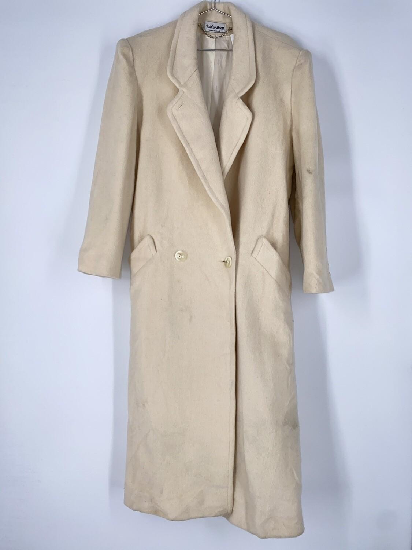 Ashley Scott Long Cream Wool Heavy Jacket Size L