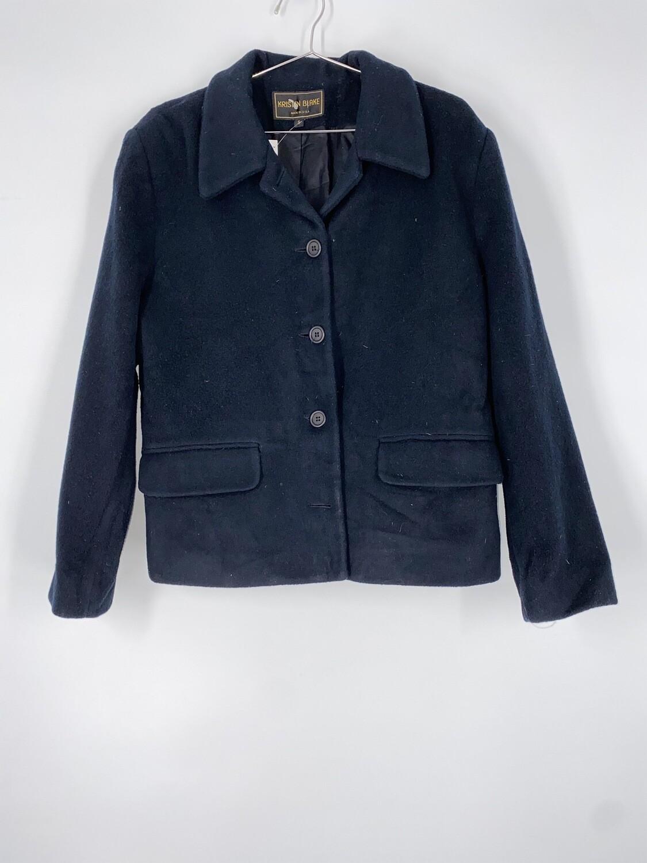 Kristen Black Short Navy Blue Wool Heavy Coat Size S