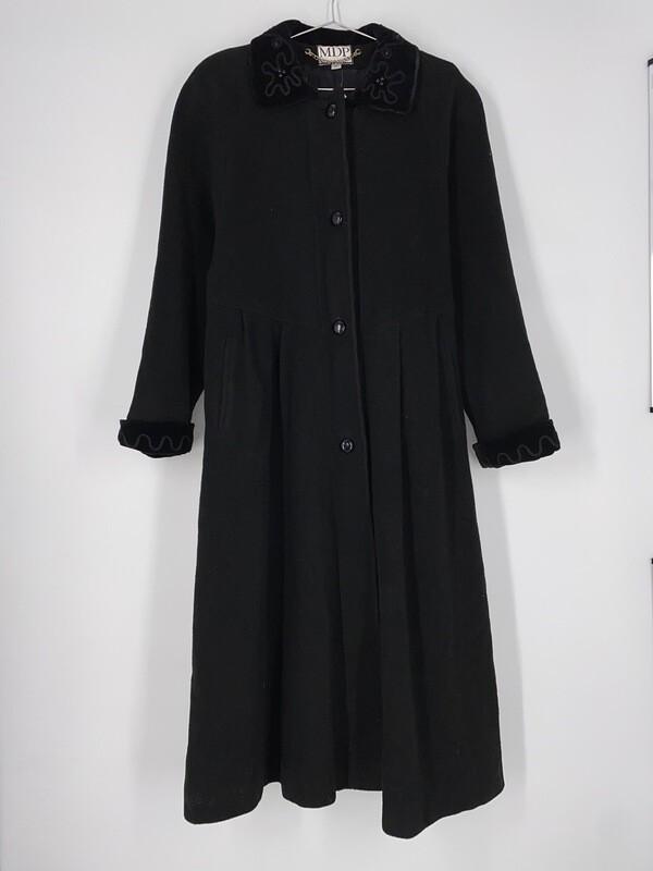 Mario De Pinto Long Black Wool Heavy Jacket Size M